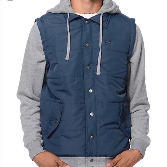 Rvca Jackets Coats Puffer Button Down Jacket Mens X Large Poshmark